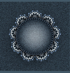Blue denim circle with lace vector