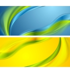 Bright smooth waves banners design vector