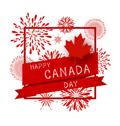 Canada day design of flag and firework vector