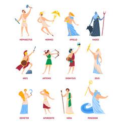 Cartoon color characters ancient greek gods set vector