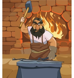 Cartoon male blacksmith forges a sword in smithy vector