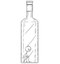 Cartoon man in bottle concept alcoholism vector