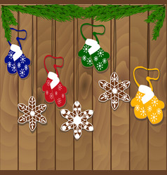 christmas cookie garland on a wooden background vector image
