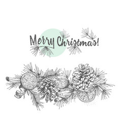 christmas garland realistic botanical ink sketch vector image
