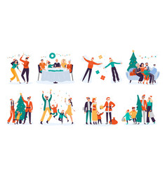 christmas people winter family holidays decorate vector image