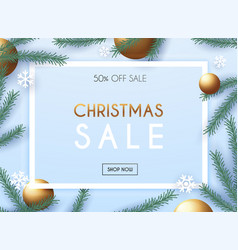 christmas sale poster template with vector image