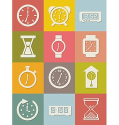 Clock icons over vintage background vector