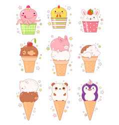 collection of animal shaped ice cream vector image