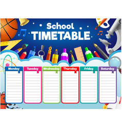 Colorful school timetable weekly schedule vector