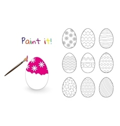 Coloring book Easter decorated eggs set vector