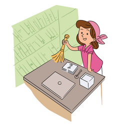 Cute little girl helper dusting off cleaning table vector