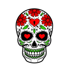Day of the dead skull skull sugar flower vector