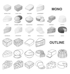 Different kind of cheese monochrom icons in set vector
