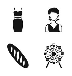 Dress girl and other web icon in black style vector