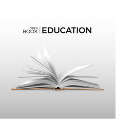 Education and study realistic open book with vector
