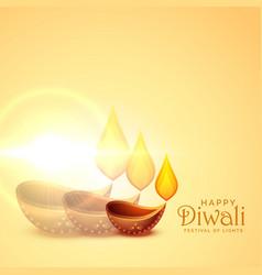 Elegant happy diwali diya lamps festival vector