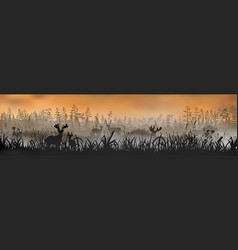 family deers stands on grass field vector image