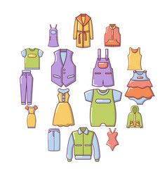 fashion clothes wear icons set cartoon style vector image