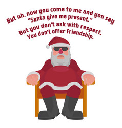 Fat santa in sunglasses in the style of the film vector