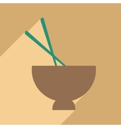 Flat with shadow icon and mobile application soup vector