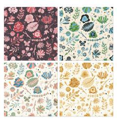 floral seamless pattern set floral spring summer vector image