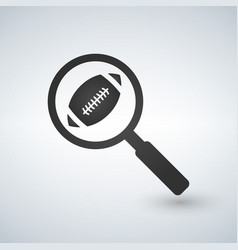 Football in magnifying glass search or analyzing vector