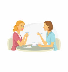 girls in cafe - cartoon people characters vector image