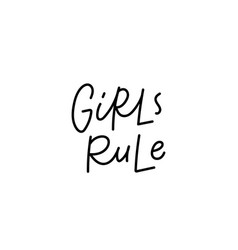 Girls rule calligraphy quote lettering vector
