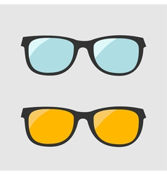 Glasses set Blue and yellow lenses Isolated Icons vector