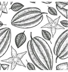 hand drawn sketch style carambola seamless vector image
