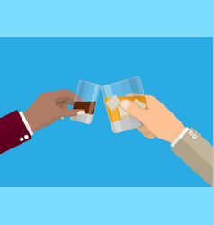 hands holding glasses vector image