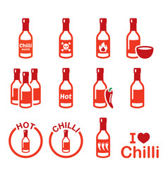 Hot chilli sauce bottle icons set spicy sauce vector