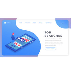 job searching isometric landing page template vector image
