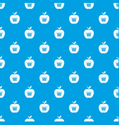king apple pattern seamless blue vector image