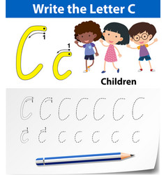 letter c tracing alphabet worksheets vector image