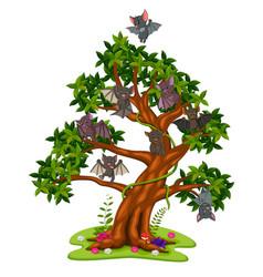 Many bats cartoon on the trees vector