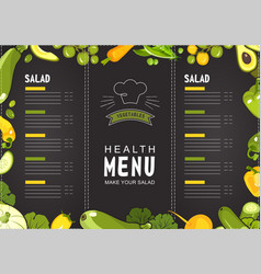 menu of rastaran vegetables vector image