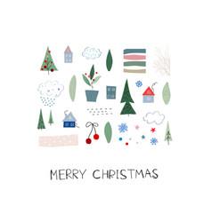 merry christmas tree snow winter season postcard vector image