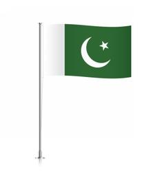 Pakistani flag waving on a metallic pole vector image