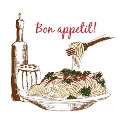 Pasta Bon appetit vector