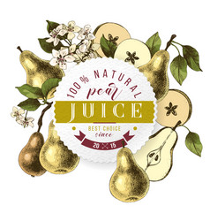 pear juice paper emblem over hand drawn pears vector image