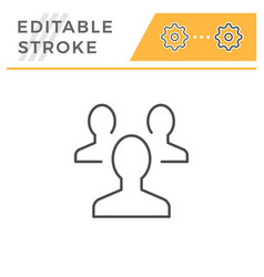 people group editable stroke line icon vector image