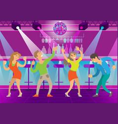 People having fun on dance floor clubbing man vector