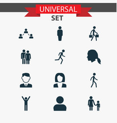 People icons set collection of happy vector