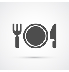 Plate with fork and knife trendy icon vector
