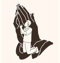 Prayer christian praying praise god vector