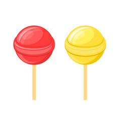 Red and yellow lollipops candy on stick set vector
