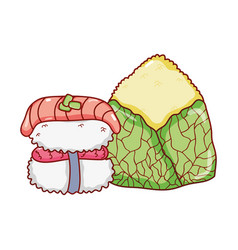 Rice cake and sushi fishes food japanese menu vector