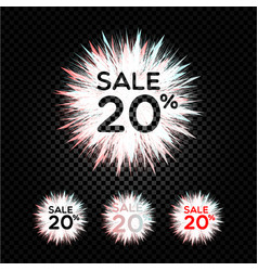sale sticker flash discount icon 20 vector image