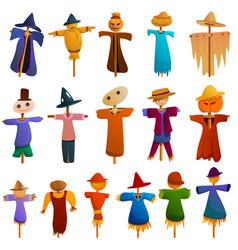 Scarecrow icons set cartoon style vector